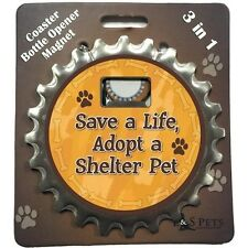 "Bottle Ninja 3 in 1 Opener, Coaster, Magnet  ""Save a Life, Adopt a shelter pet"""