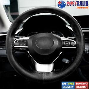 37-38cm Genuine Leather DIY Car Steering Wheel Cover Anti-slip Breathable