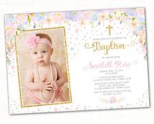 Pastel Floral Baptism Invitation Pink Purple Gold Confetti Christening Invite