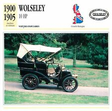 Wolseley 10 HP 2 Cyl.  1900-1905 GB/UK CAR VOITURE CARTE CARD FICHE