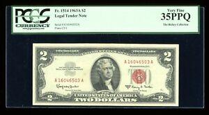 DBR 1963-A $2 Legal Fr. 1514 PCGS 35 PPQ Serial A16946503A