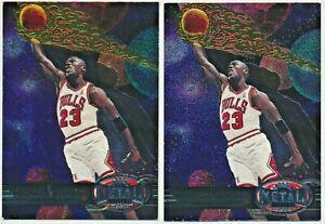 1997-98 2x Lot Skybox Metal Universe Michael Jordan Bulls #23