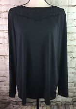 Bob Mackie Women's Blouse Long Sleeves Mesh Neckline Stretch Black QVC Large