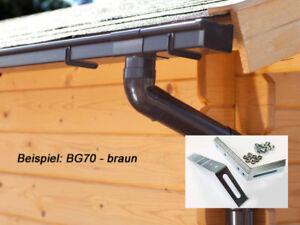 Dachrinne PVC Set inkl. Dachhaken  Pultdach Satteldach eckige Dächer Dachrinnen