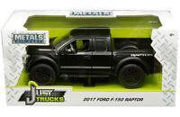 2017 Ford Raptor F-150 Pickup Truck Diecast 1:24 Jada Toys 8 inch Matte Black