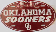 Oklahoma University Sooners College Football Car Oval License Plate Dorm Decor