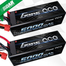 ~NEW~ (2) Gens Ace 4S 5000mAh 14.8V 50C 4S1P HardCase Lipo Battery w/Deans Plugs