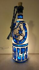 Indianapolis Colts Inspiered Bottle Lamp Stained Glass look lighted