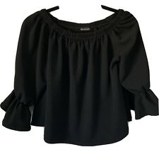 WOMENS PRETTY LITTLE THING SIZE M/L 14 3/4 SLEEVE BLACK BARDOT OFF SHOULDER TOP