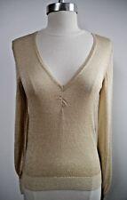 DRIES VAN NOTEN shimmery gold lightweight sheer v-neck sweater knit top size S