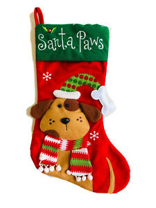 16 In  Red Santa Paws Dog Christmas Stocking