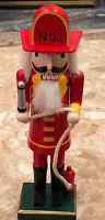 "CHRISTMAS WOODEN NUTCRACKER 14"" FIREMAN HOLDING FIRE HOSE Hydrant"