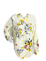 Jeans by Buffalo Women's Yellow White Floral Button Down Shirt Top Career Small