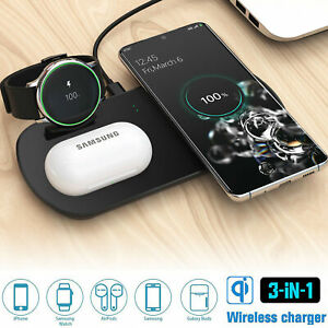 3 In 1 Qi 10W Wireless Charger Dock Charging Pad For AirPods&Samsung Watch&Phone