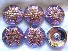 REDUCED CZECH GLASS BUTTONS (6 PCS) VITRAIL LIGHT / 24K GOLD  (22mm)  **  M 036