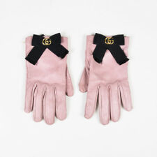 Gucci Pink & Black Leather & Grosgrain 'GG' Bow Gloves SZ 8/L