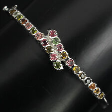 GORGEOUS NATURAL ROUND 3mm FANCY COLORS TOURMALINE STERLING 925 SILVER BANGLE