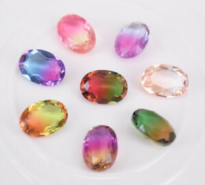 New Tourmaline Crystal Glass Rhinestones Oval Color Faceted Beads Jewelrys K9