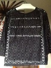 Atmosphere Size 16  3/4 Sleeve Black Lace Top