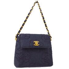 0606701a6e69 Auth CHANEL Camellia CC Logos Chain Hand Bag Navy Canvas Vintage GHW AK27177