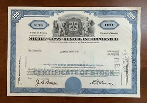 Vintage Stock Certificate Miehle Goss Dexter Incorporated Printing 1969