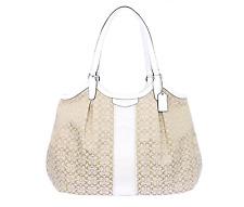 Coach Signature Stripe Devin Tote Bag Shoulder Purse Carryall Handbag F31307
