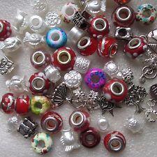 200 Glass Acrylic & Lampwork Round Beads Charms European Bracelets Assortment