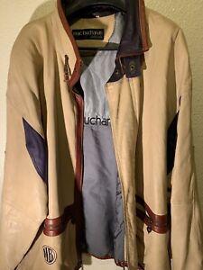 PELLE PELLE Marc Buchanan 90's  Beige & Brown Soft Lamb Leather Jacket  48