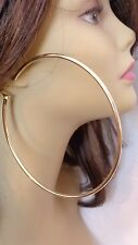 LARGE 4.75 INCH HOOP EARRINGS SOLID PLATED HOOP EARRINGS SILVER OR GOLD TONE
