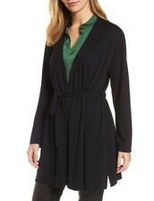 New EILEEN FISHER Belted Organic Cotton Tencel Silk Knit Wrap Long Cardigan PS S