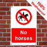 No horses sign or sticker Health and safety Notices COUN0080 weatherproof