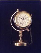 Vintage Le' Watch  Globe Desk Clock Watch Gold Tone NIB No Jewels