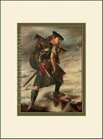 The Jacobite Scottish Highlander 1745 Rebellion Scotland Print Mounted Sealed UT
