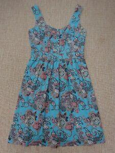 Fat Face Sun Dress Size 10 Blue Floral pattern Knee length Adjustable straps Zip