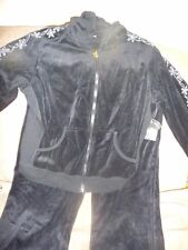 NWT NICE SPORT SUIT SZ L JET BLACK WITH EMBROIDERY HOODED JACKET