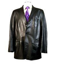 c0b50498d302 HUGO BOSS 46 Napa Lamb Leather Blazer Black Sport Coat