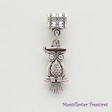 Tibetan Silver Graduation Owl Charm fit European Charm Bracelet