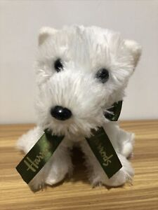 VERY CUTE HARRODS White Scottie DOG with Ribbon and H on paw 18cm Sitting