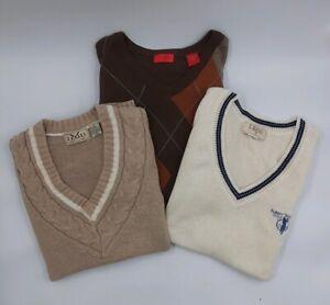 Lot Of Three (3) MED Premium Men's Golf Sweaters IZOD E. MAGRATH 2 Vest 1 L.S. M