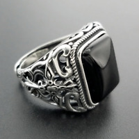 CUSTOM 925 SILVER VINTAGE CARVED DETAIL BLACK ONYX CROSS STONE BIKER SQUARE RING