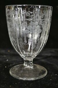 "19th Century Etched Heavy Glass Compote Grape and Vine Pattern 6 1/2"" Tall"