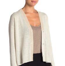 Eileen Fisher Bone Organic Linen Knit Blend V-Neck Cardigan $248 NWT PL