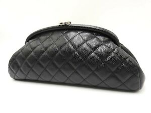 Auth CHANEL CC Matelasse Clutch Second Bag Caviarskin Leather Black Silver V6853