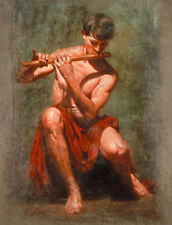 CHENPAT445 nude man playing flute art hand-painted oil painting on canvas