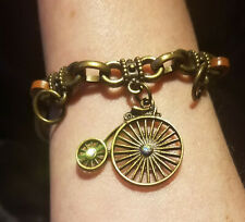 STEAMPUNK Edwardian, Charm Bracelet, Leather, Antique Gold, Rhinestones, Bicycle