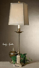 "UTTERMOST 34"" LOWELL BUFFET TABLE LAMP CANDLESTICK SHAPE AGED BRONZE METAL"