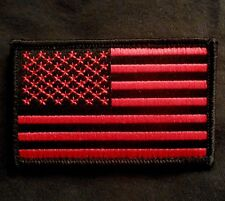 USA US AMERICAN FLAG TACTICAL UNIFORM BLACK OPS RED VELCRO® BRAND FASTENER PATCH