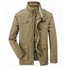 Military Mens Jacket Casual Cotton Jacket Windbreaker Army Long Trench Overcoats