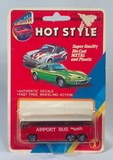 """Rare Top Speed Hot Style Airport Bus 3"""" Die Cast Scale Model New On Card MCI MC8"""