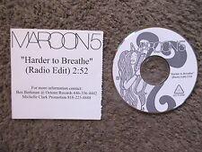"MAROON 5 ""HARDER TO BREATHE"" UNPLAYED RADIO EDIT-OCTONE-RARE UNPLAYED PROMO CD"